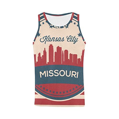 Vintage American Flag Missouri State Kansas Skyline Men's 3D Printed Tank Top