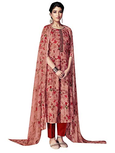 Ladyline Rayon Ethnic Printed Salwar Kameez Embroidery with Pants Style Indian Dress Suit (Size_44/ Light Brown)