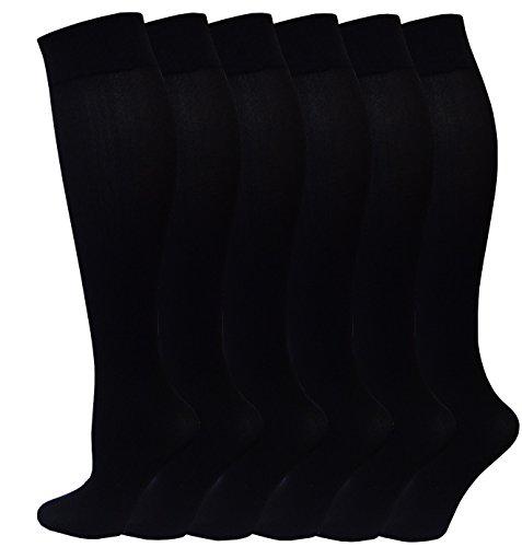 Differenttouch 6 pack Women Spandex Knee High Socks 9-11 Black (Plus Size High Socks)