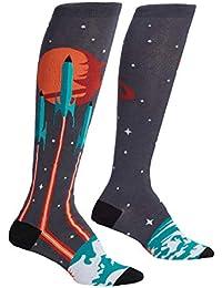 Launch From Earth, Women's Knee-High Funky Socks, Galaxy Planet Socks