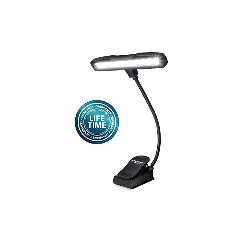 Rechargeable Clip-on Music Stand Orchestra Light- 10 Bright LEDs Last for 50 Hours on a Single Charge- Includes USB Cord, Wall Plug, and Carrying Bag- Also for Reading, DJs, Crafting