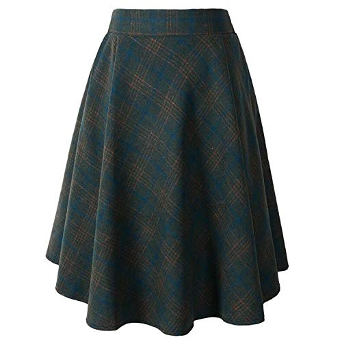 (Morden New Woolen England Style Gilrs School Plaid Pattern Knee Length Pleatead Women Skirts Wool High Waist T Green)