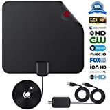 Digital TV Antenna Indoor HDTV Antenna 2018 Upgraded Version 4K 1080P HD 50+ Miles USB Powered Amplified Antenna for All Types of Home Smart Television - Never Pay Fees.(black)