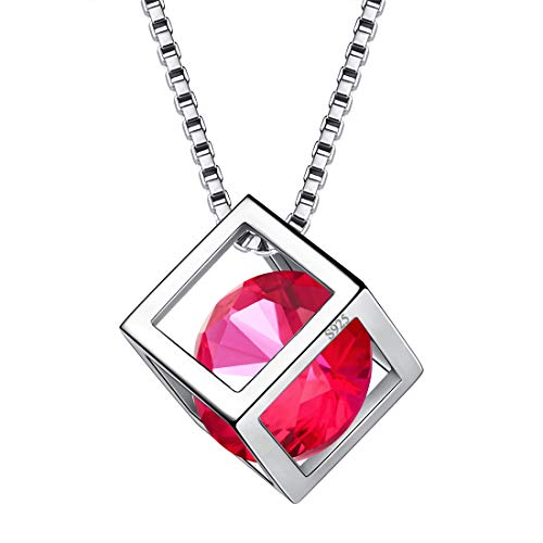 Aurora Tears July Birthstone Necklaces Women Crystal 925 Sterling Silver 3D Cube Birth Stone Pendant Cubic Zirconia Jul. Birthday Pendant Girls Charm Dating Jewelry DP0028R