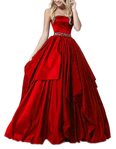 Zhongde Girl's Strapless A Line Long Evening Party Ball Gown Prom Dress Belt With Beads Red Size 18 Ball Gown Strapless Beading