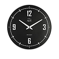 SMC 14-inch Silent Non-ticking Modern Ultra Thin Wall Clock, Black Wall Clock Plastic Frame