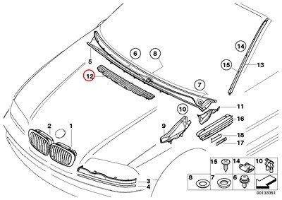 (BMW Genuine Exterior Trim Grill Air Inlet Grille M3 M3)