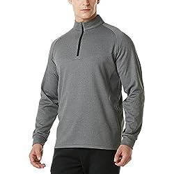 Tesla TM-YKZ03-GRY_2X-Large Men's Winterwear Sporty Slim Fit 1/4 Zip Fleece Lining Sweatshirt YKZ03
