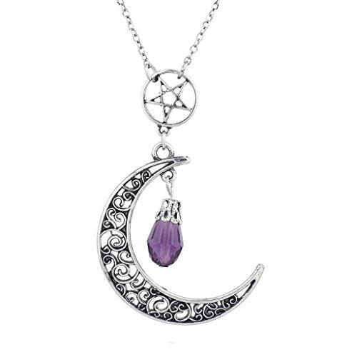 Lux Accessories Burnish Silvertone Pentagram Crescent Moon Pendant Necklace