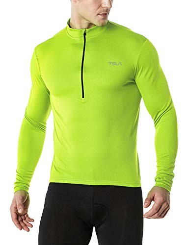 TSLA Men's Cycling Triathlon Jersey Bike Breathable Reflective Quick Dry Long Sleeve Biking Shirt, Cycle Long Sleeve(mct21) - Neon Yellow, X-Small ()