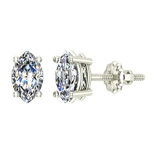 0.44 ct tw G VS Diamond Stud Earrings Marquise Cut Earth-mined 18K White Gold Screw Back - Marquise Cut Diamond Earrings