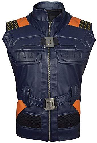 Michael Jordan Halloween Mask (Erik Killmonger Panther Leather Vest Michael B Jordan Blue Vest (X-Large,)