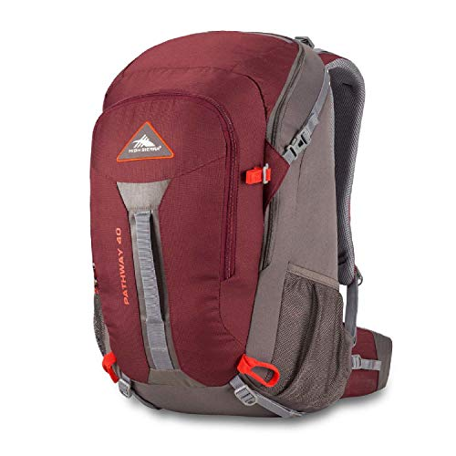 High Sierra Pathway 40L Internal Frame Backpack Pack ; High-Performance Pack for Backpacking, Hiking, Camping, with Rain Fly, Cranberry/Slate/Redrock