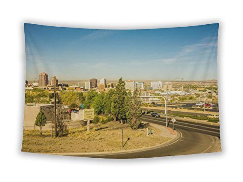 Wall Tapestry For Bedroom Hanging Art Decor College Dorm Bohemian, Albuquerque New Mexico Skyline Of Downtown, 26x36