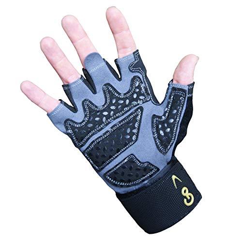 GoFit Diamond-Tac Wrist Wrap Glove - Padded, Flexible, Supportive Fitness Glove and Training CD - Medium