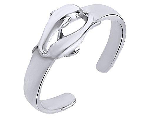 Wishrocks 14K White Gold Over Sterling Silver Dolphin Adjustable Toe -