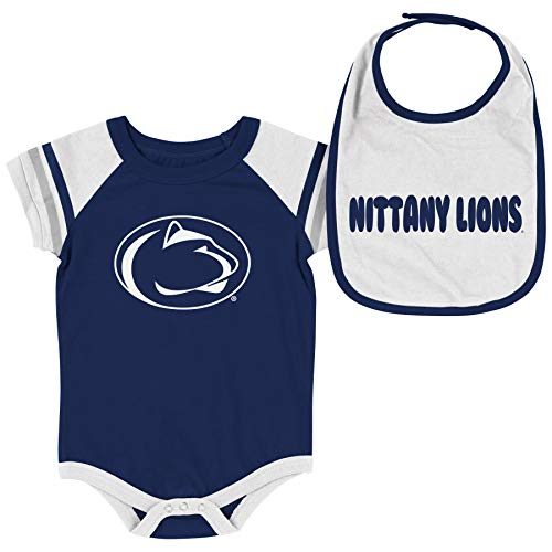 Colosseum NCAA Baby Short Sleeve Bodysuit and Bib 2-Pack-Newborn and Infant Sizes-Penn State Nittany Lions-3-6 - Athletics Penn State