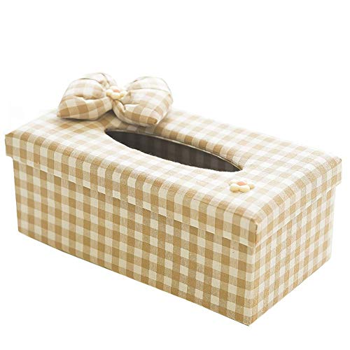 seemehappy Khaki White Plaid With Bow Fabric Tissue Box Cover,Facial Tissue Box Holder For Bedroom Dresser,Night Stands,Desks and Tables