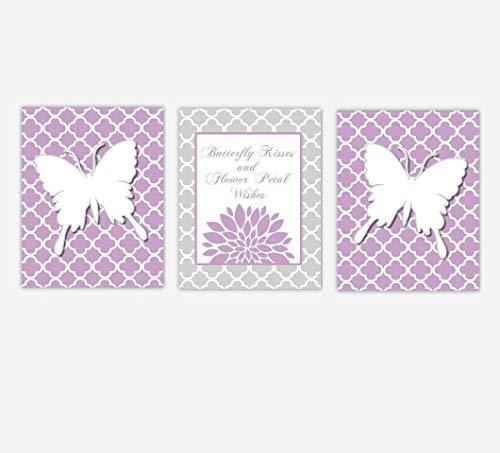 Butterfly Baby Girl Nursery Art Purple Gray Grey Butterfly Kisses Flower Petal Kisses Baby Nursery Decor SET OF 3 UNFRAMED PRINTS