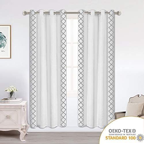 LORDTEX Embroidered Blackout Curtains for Bedroom – Insulated Thermal Curtains, Noise and Sun Light Blocking Grommet Window Drapes for Living Room, 52 x 95 Inch, Greyish White, Set of 2 Panels