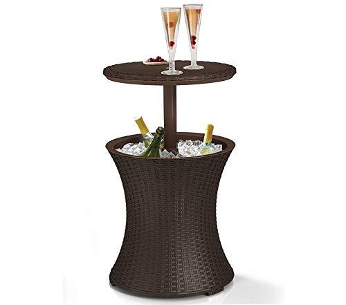 Kеtеr Patio Outdoor Garden Premium 7.5-Gal Cool Bar Rattan Style Outdoor Patio Pool Cooler Table, Brown