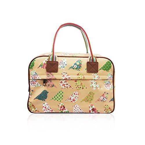 De Pájaros Rosa Hb Y Flores Estilo Style Diseño Bolso Tela Vintage qwEwUF