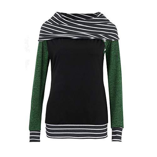 Hpapadks Fashion Women Skew Neck Long Sleeve Striped Patchwork Button Sweatshirt Top O-Neck Tunic Shirt Sleeves Plus - Single Cell Sheer