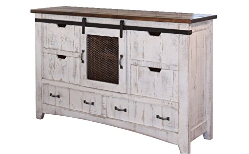White Anton Sturdy Solid Wood Construction Hand Built Sliding Barn Door Dresser With Dovetail Drawers and Ball Bearing Glides (Distressed Furniture Rustic)