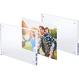 "SimbaLux Magnetic Acrylic Picture Photo Frame 5x7 inches, Clear Glass Like, Double Sided Frameless Desktop Floating Display, Free Standing, Easy Change, for Family, Postcards, 5"" by 7"", 2.4cm Thick"