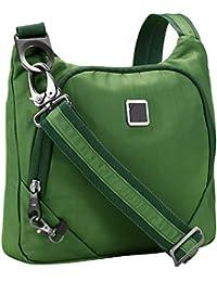 Lewis N. Clark Anti-theft Crossbody Purse + Sling Bag for Women, Men, Travel or Work with RFID Blocking Technology, Slash Resistant Material, Locking Zippers & Adjustable Shoulder Strap, Moss