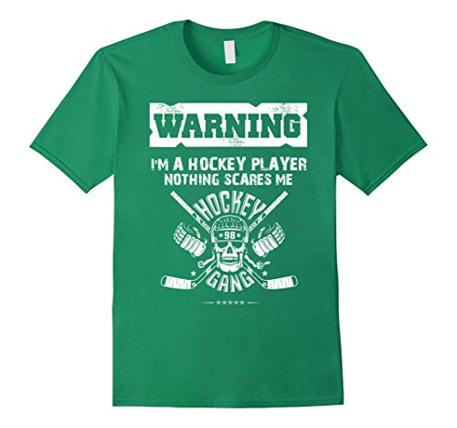 Mens Halloween Warning Hockey Player Skull Nothing Scares T-Shirt Medium Kelly Green