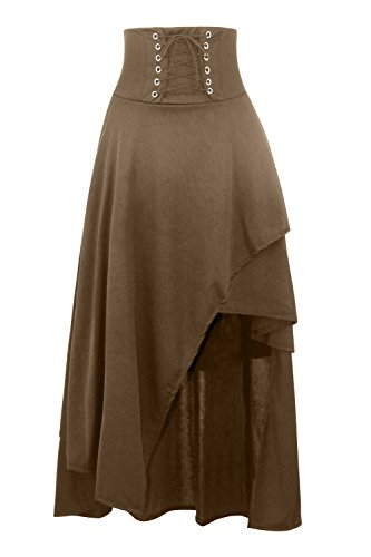 KILLREAL Women's Medieval Renaissance Costume Victorian Steampunk Gothic Long Skirt Khaki Medium
