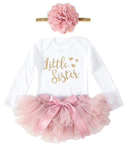 (OoSweetCharlotteoO Newborn Baby Girl Coming Home Outfit Little Sister Bodysuits 3pcs (3Months Long Sleeve, Gold+Vintage Pink))