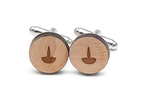 Diwali Lamp Cufflinks, Wood Cufflinks Hand Made In The Usa by Wooden Accessories Company