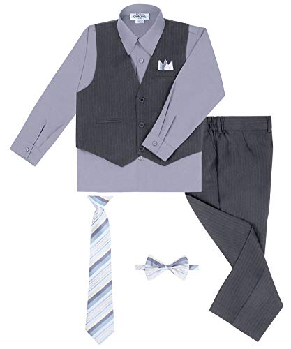 S.H. Churchill & Co. Boy's Vest and Pant Set, Includes Shirt, Tie and Hanky - Grey/Silver, 14