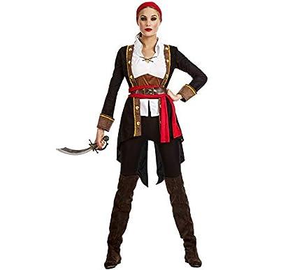 Disfraz de Pirata Casaca Negro para mujer: Amazon.es ...
