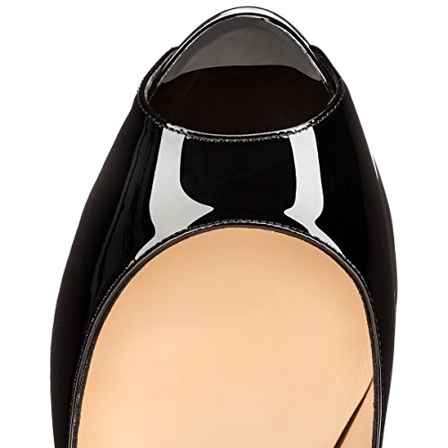 Arc-en-Ciel zapatos de plataforma negros de las mujeres del tacón alto de la bomba de punta abierta Negro