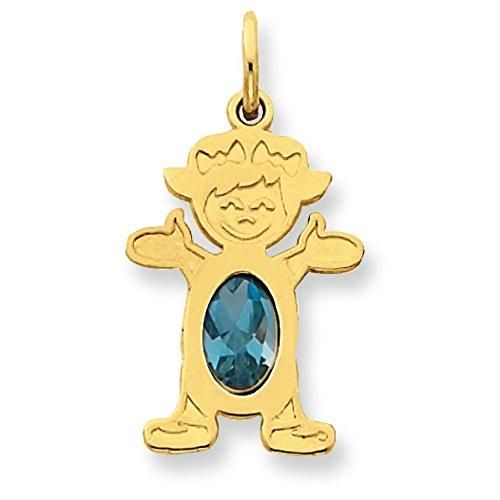 Fille 14 carats 6 x 4 ovales Genuine-Topaze Bleue Pendentif-JewelryWeb décembre