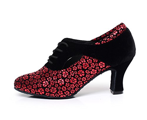 Synthetic QJ7046 5 Dance Red Pumps MINITOO UK Salsa 5 up Tango Lace Latin Ladies Z6q7wAX