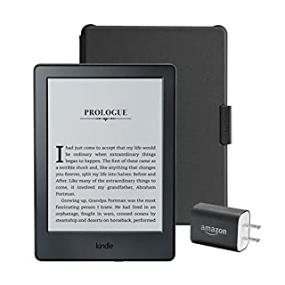 """Kindle Essentials Bundle including Kindle 6"""" E-Reader (Previous Generation - 8th), Black with Special Offers, Amazon Cover for Kindle – Black, and Power Adapter"""