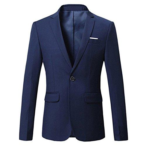 (JEAREY Mens Blazer Casual Slim Fit Lapel Suit Jacket One Button Daily Business Dress Coat (Navy, Large) )