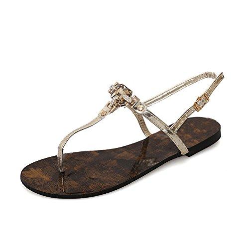 Blivener Womens T-strap Bohemia Beaded Flat Sandals Rhinestones Contrast Ankle Summer Flat Sandals Gold-02 RM3GTnn