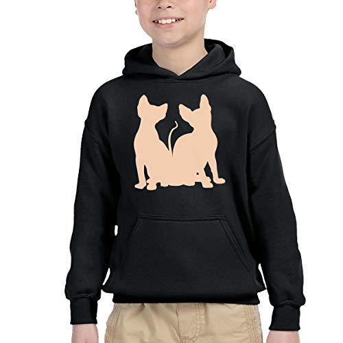 Promotional Pocket Calendars - Sphynx Cat Toddler's Unisex-Baby Long Sleeve Pullover Hooded Sweatshirt with Pocket Black