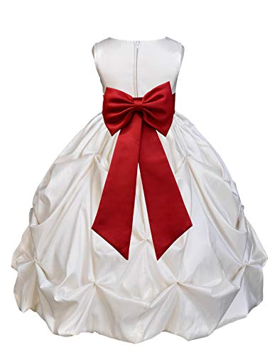 Ivory Satin Taffeta Pick-Up Bubble Junior Flower Girl Dress Bridesmaid 301T -