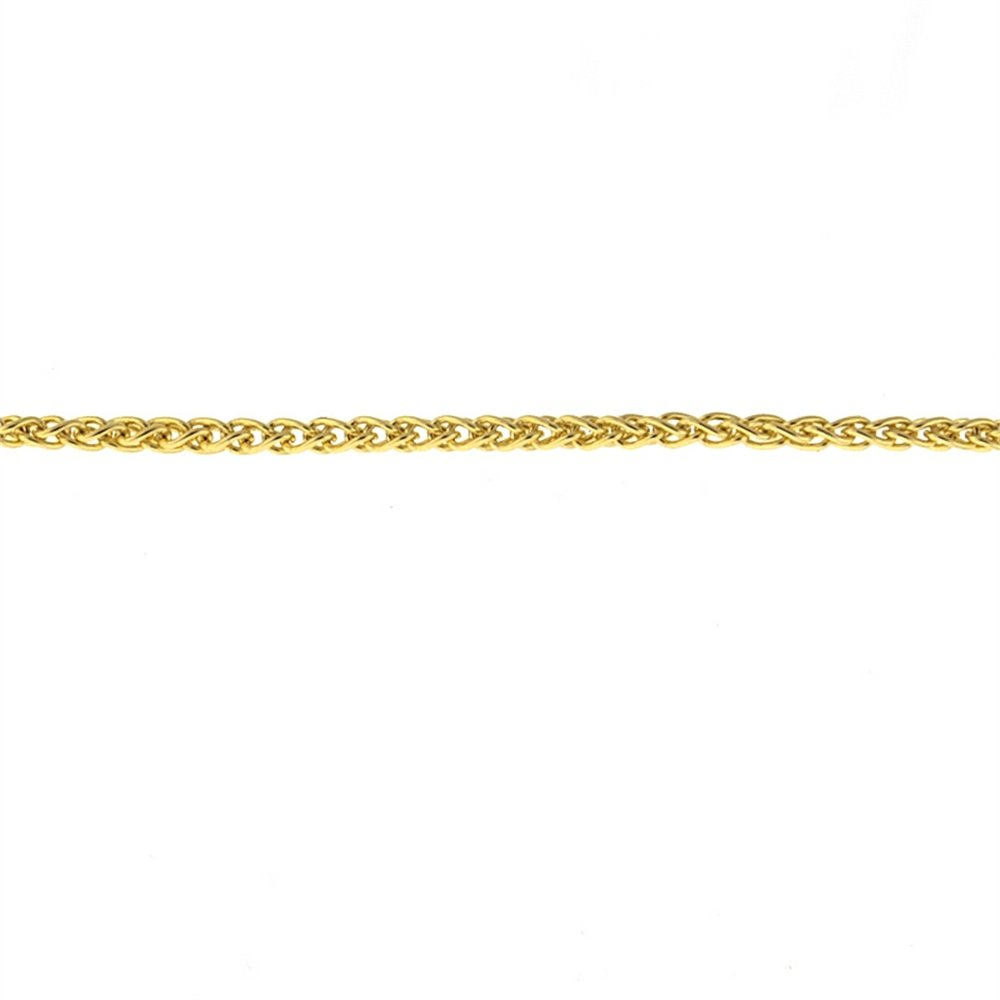 18k Yellow Gold 1.3mm Wheat Solid Chain Necklace - 20''