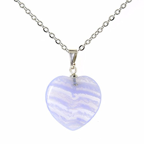 Justinstones Natural Blue Lace Agate Heart Charm Pendant Necklace 20""
