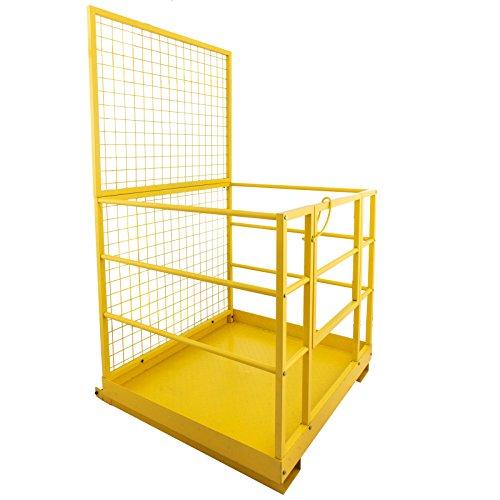 Mophorn Forklift Safety Cage 45 x 43 Inch Fork Lift Work Platform 1200lbs Capacity Heavy Duty Steel Forklift Safety Lift Basket Aerial Fence Rails Yellow Pallet loader Fork lift Safety Cage (45''x43'') by Mophorn (Image #2)
