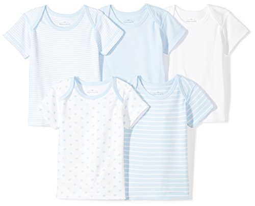Moon and Back Baby Set of 5 Organic Lap-Neck Crew Short-Sleeve Tee Shirts, Blue Sky, 3-6 Months