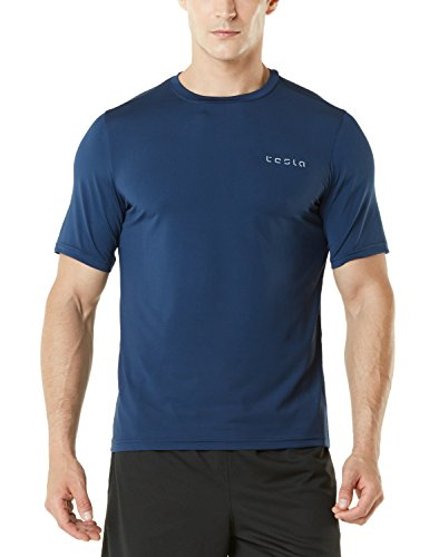 TM-MTS04-NVY_Medium Tesla Men's HyperDri Short Sleeve T-Shirt Athletic Cool Running Top MTS04