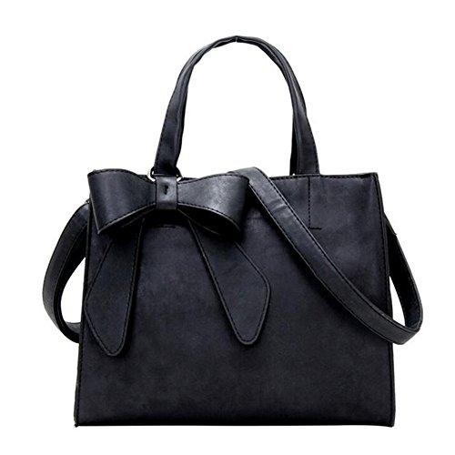 Women Handbags Fashion Bowknot PU Leather Shoulder Bags Messenger Tote Bags (Black)
